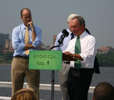 NYC Mayor Michael Bloomberg speaks at the press conference announcing his $50 million dollar Beyond Coal donation. Photo by Heather Moyer.