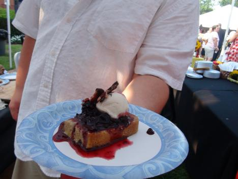 "French toast with berry compote and chocolate covered bacon at Maryland's ""Buy Local Barbecue"" July 21."