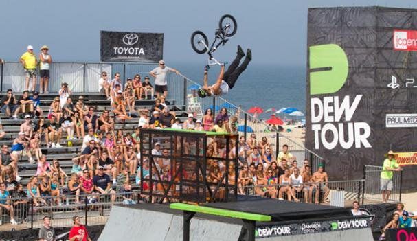 A view of one of the stadiums constructed on the beach in Ocean City for this weekend's DEW Tour, an extreme sports showdown.