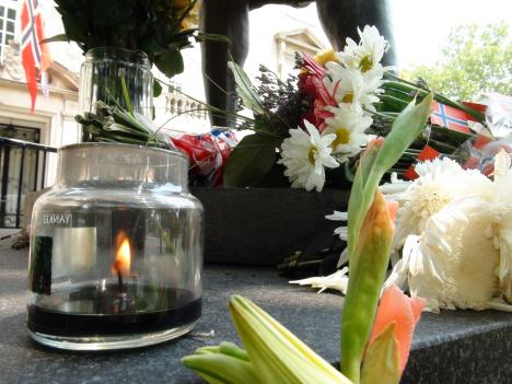 At the Norwegian Embassy in Washington, D.C., people are leaving flowers, candles and cards to mourn the lives that were lost in the bombing and shooting massacre in Oslo last Friday.