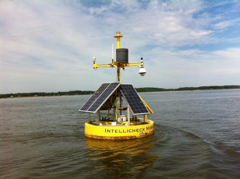 Intellichek Mobilisa created the solar-powered buoy for the Navy. It can detect radiation and environmental contaminants.