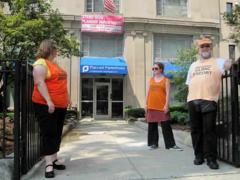 Volunteer escorts help support women entering the Planned Parenthood clinic in downtown D.C. Many potential clients of the clinic are approached by abortion rights opponents when they try to enter.
