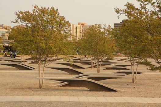 The 9/11 Memorial outside the Pentagon, which consists of benches representing each life lost there that day interspersed with trees.
