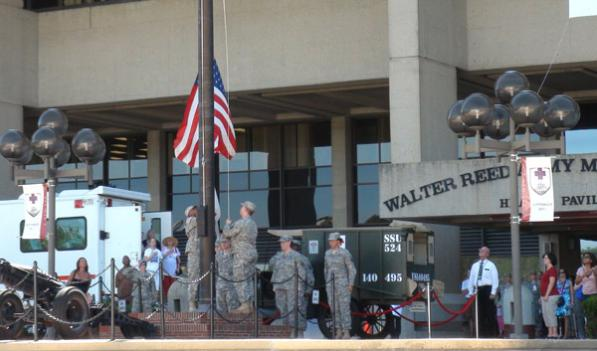 The flag lowering ceremony that marked the end of 102 years of medical service at Walter Reed Army Hospital.
