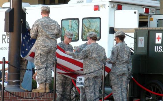 The flag lowering ceremony at Walter Reed July 27.