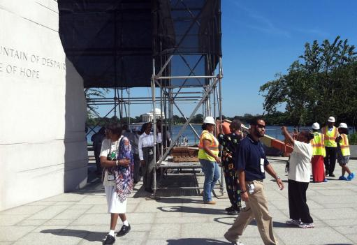 Construction crews are putting the final finishing touches on the National Martin Luther King Jr. Memorial in advance of the Aug. 28 dedication.