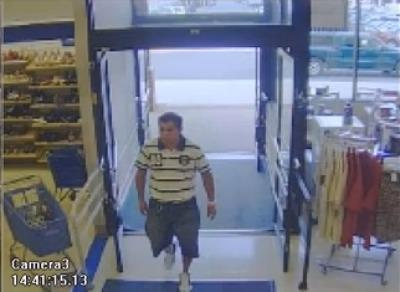 A screen shot from surveillance video at the Greenbriar Shopping Center Marshall's, which shows the suspected serial butt slasher entering the store June 20.