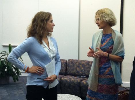 Actress Debra Winger talks with Dr. Nora Volkow, director of the National Institute on Drug Abuse, before heading onstage for the Addiction Performance Project.