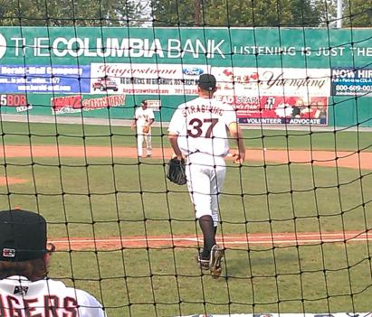 Stephen Strasburg takes the mound at Hagerstown Municipal Stadium Aug. 7.