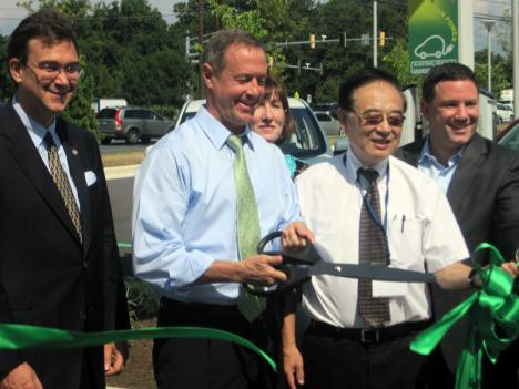 Gov. Martin O'Malley cuts ribbon to open access to the new charger Aug. 9.