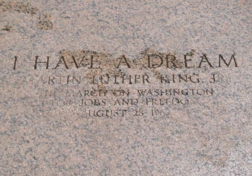 On the steps of the Lincoln Memorial, this flagstone marks the spot where Martin Luther King Jr. stood when he delivered his most famous speech.