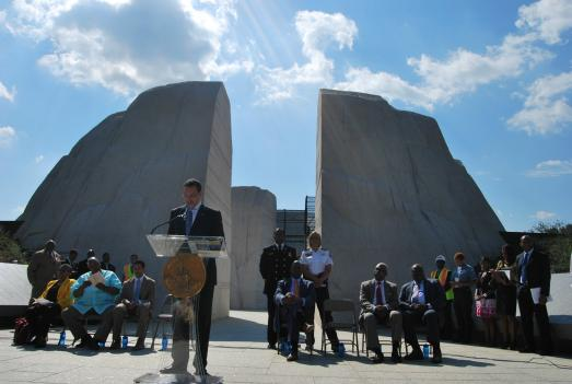 D.C. Mayor Vincent Gray previews the memorial for members of the press and other guests last week. The Martin Luther King, Jr. National Memorial opens this week, and will be dedicated Aug. 28.