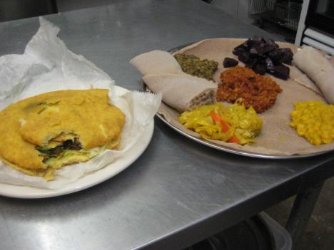 At RAS, you can order Caribbean food (like the Bake and Shark, left) or Ethiopian cuisine (like the vegetarian platter, right).