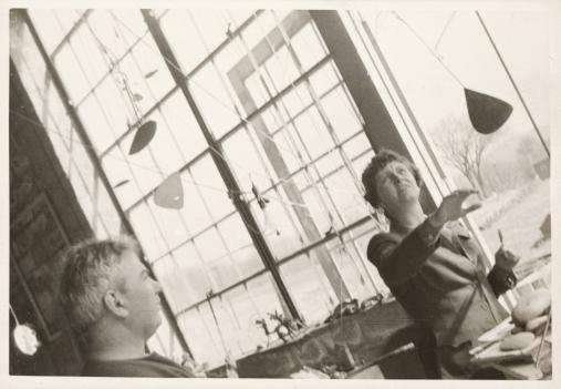 Agnes Rindge Claflin and Alexander Calder in Calder's studio, circa 1942.