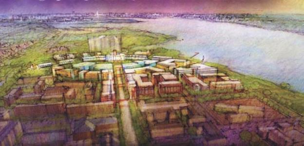 This rendering shows one proposal for the revitalization of the Potomac River Generating Plant site. The plant's owner, GenOn, has agreed to shut down the plant by 2012.