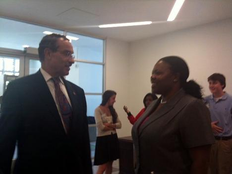 Mayor Vincent Gray and D.C. Public Schools chancellor Kaya Henderson tour a school on the first day of school Aug. 22.