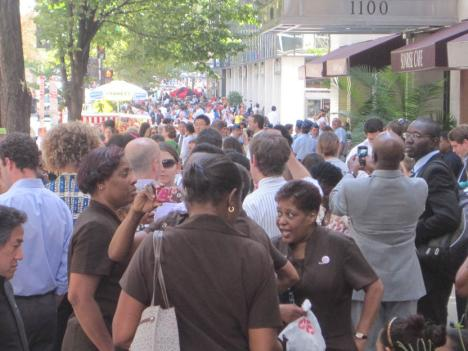 People evacuated buildings at 17th and DeSales streets NW  after the 5.8 temblor shook the region.