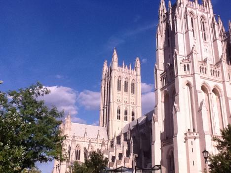 Three of the four spires from the main tower of the National Cathedral broke off during Tuesday's earthquake. The broken spires are visible on the top of tower in the center of the photo.