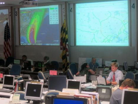 Emergency coordinators will be manning the Maryland Emergency Management Agency in Reisterstown all weekend.