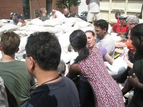 Old Town Alexandria residents stocking up on sandbags in advance of Hurricane Irene.