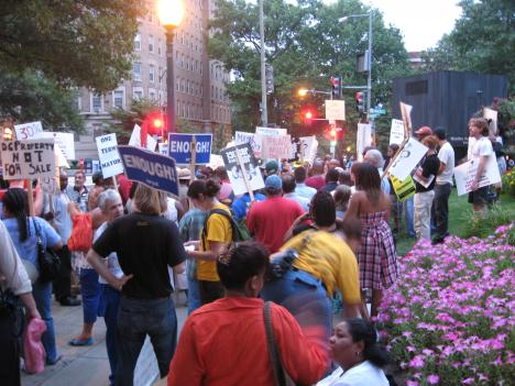 Protests over Mayor Fenty's privatized budget.