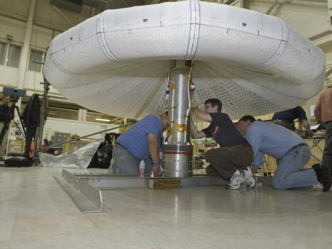 Workers from ILC Dover and NASA Langley inflated and tested the Inflatable Re-Entry Vehicle Experiment (IRVE) in preparation for this summer's planned launch at NASA's Wallops Flight Facility on the Eastern Shore of Virginia.