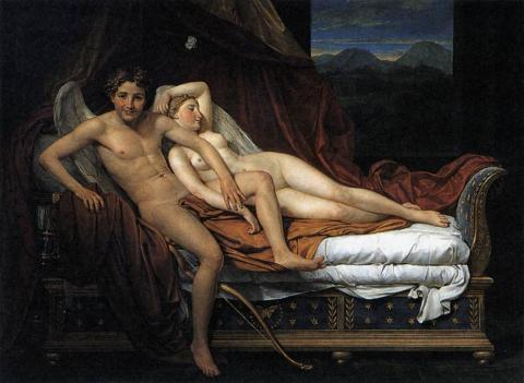 "Jacques-Louis David painted ""Cupido et Psyche"" in 1817...perhaps a favorite of Rossini's?"