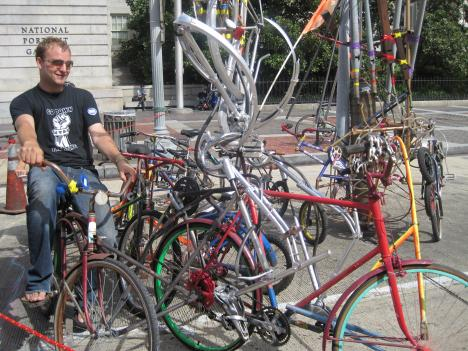 The bicycle carousel, made of old bicycle parts and pipes, was just one of the amusements at the Car Free Day celebration.
