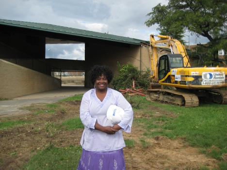 Rosedale community activist Sondra Phillips-Gilbert at the site of the future Rosedale Community Center.