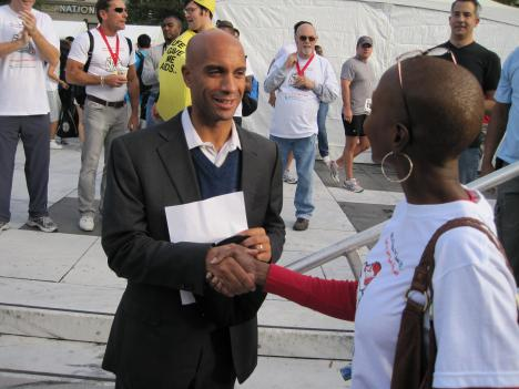 D.C. Mayor Adrian Fenty made a brief appearance at the 23rd annual AIDS Walk Washington.