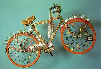 "Pepon Osorio's ""La Bicicleta (The Bicycle)"" from 1985 mixes media and whimsy."
