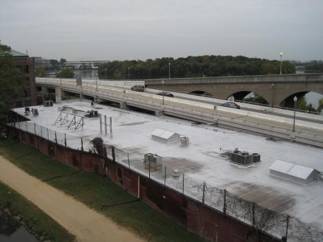 The Whitehurst Freeway, as viewed from the D.C. side of the Key Bridge, will be car-free for one morning.