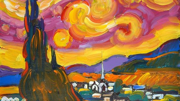 Starry Night (2012), an homage to the famous work by Van Gogh, is one of Peter Max's more recent pieces that will be at Wentworth Gallery.