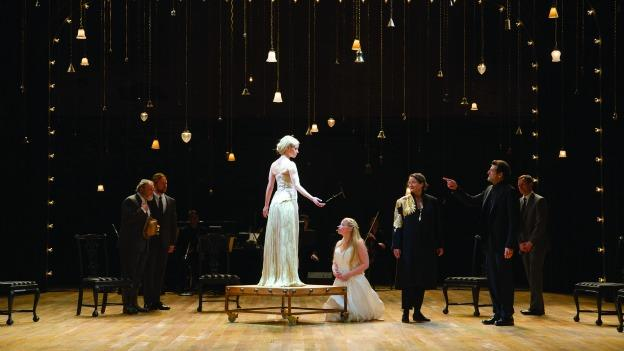 A small cast of nine actors play 16 different characters in The Winter's Tale at The Shakespeare Theatre Company's Lansburgh Theatre.