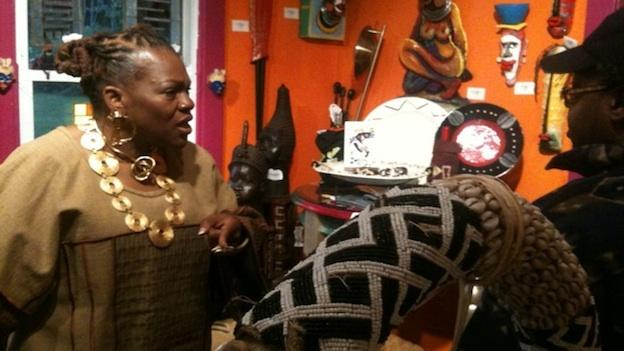 Juanita Britton at her Anacostia Art Gallery. She's getting ready to become Queen Mother of Konko Village in Eastern Ghana.