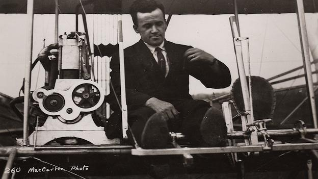 Al Welsh at the controls of a Wright Model C, College Park, Maryland, 1912.
