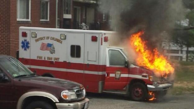 A D.C. ambulance caught on fire last week, and a photograph of the ambulance was tweeted out by the firefighters' union.