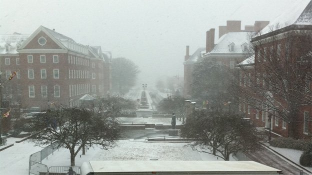 Snow is coming down heavily in Annapolis, as seen from the steps of the State House at 1 p.m. on Tuesday.