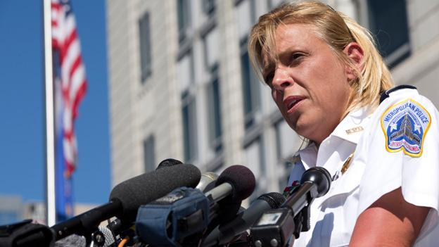 Washington Metropolitan Police Chief Cathy Lanier speaks at a news conference about the shootings at the Washington Navy Yard, while outside of the FBI Washington Field Office, in Washington, on Tuesday, Sept. 17, 2013, the day after the shootings at the Navy Yard.