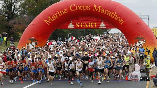 Runners start the Marine Corps Marathon, in Washington, Sunday, Oct. 28, 2012. More than 30,000 people participated in the marathon 2012.