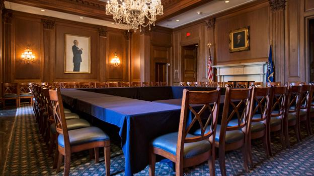 An empty Senate meeting room, just outside the chamber is seen on Capitol Hill in Washington, Monday, Sept. 23, 2013, as only a week remains for Congress to pass a funding bill in order to avoid a government shutdown.