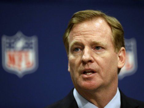NFL Commissioner Roger Goodell at a press conference in May. Goodell's handling of concerns about concussions and controversies surrounding players have led commentator Frank Deford to wonder whether Goodell is up to the job.