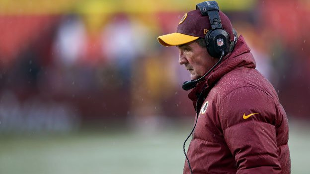 Washington Redskins head coach Mike Shanahan stands along the sidelines during the second half of an NFL football game against Kansas City Chiefs in Landover, Md., Sunday, Dec. 8, 2013. The Chiefs defeated the Redskins 45-10.