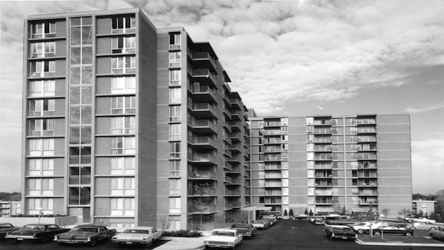 Marbury Plaza development in 1967. Courtesy of: Star Collection, DC Public Library; copyright Washington Post.