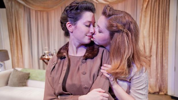 Natalie Cutcher (left) and Raven Bonniwell play a closeted lesbian couple in Perfect Arrangement by Topher Payne, which is on stage for an extended run this weekend.