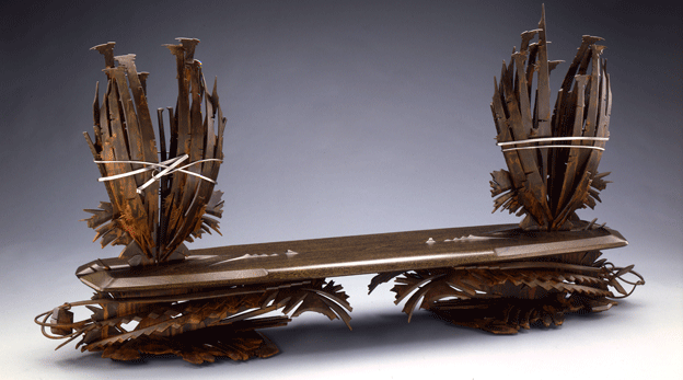"Albert Paley, Oasis, 1994. Steel, mahogany, and stainless steel. 54"" × 109.5"" × 19.5""."