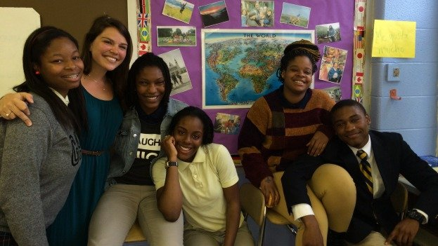 Some of the students who participated in the study abroad program, along with their teacher.