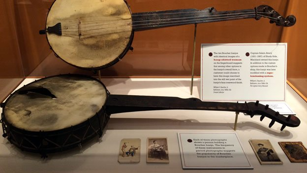 "Banjos built by William Boucher on display at ""Making Music: The Banjo in Baltimore and Beyond."""