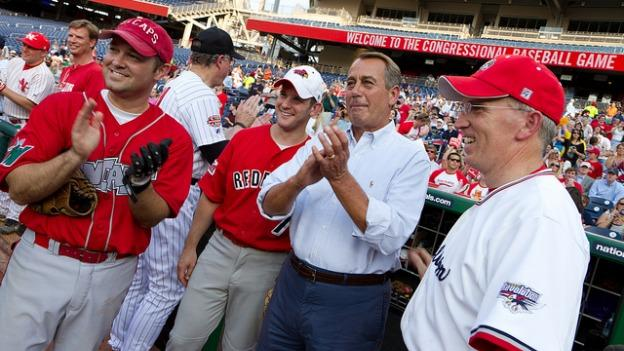 House Speaker John Boehner didn't play, but he did spectate at the 2012 baseball game.