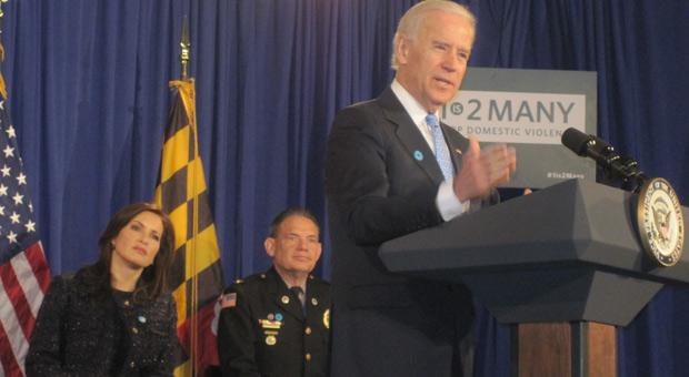 Vice President Joe Biden and actress Mariska Hartigay at the announcement in Rockville.